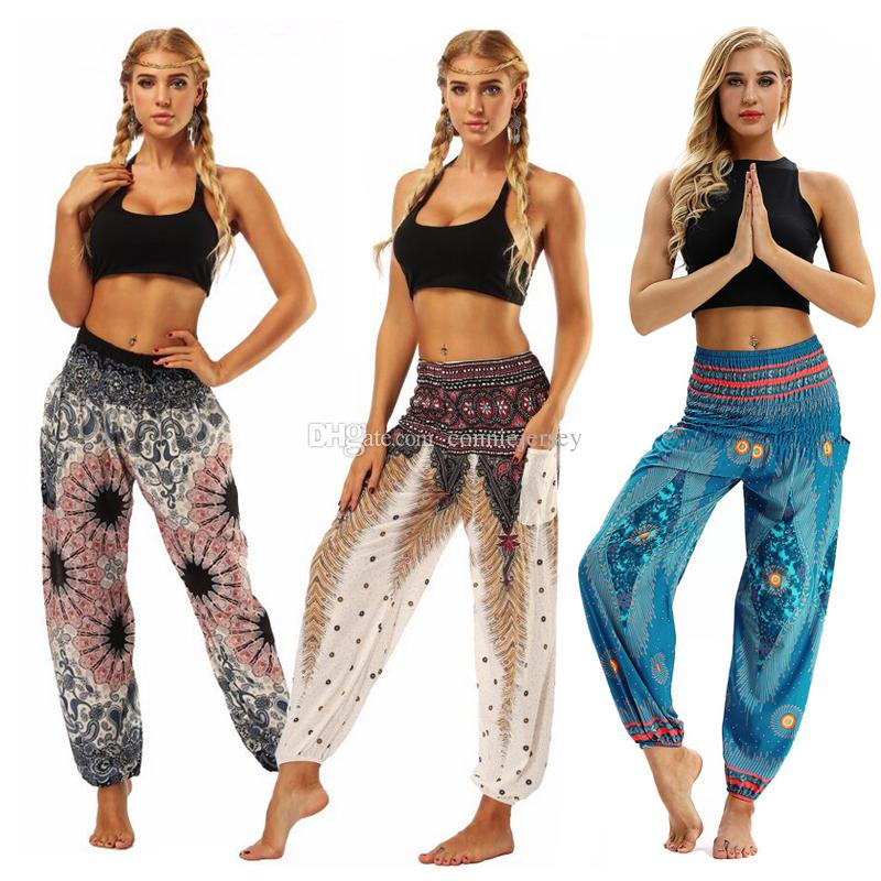 Yoga Pant Women Loose Plus fours Lantern Sport Yoga Pants Ethnic style Elastic Dancing Pant Fit High Waist Beach Trousers Drop Shipping