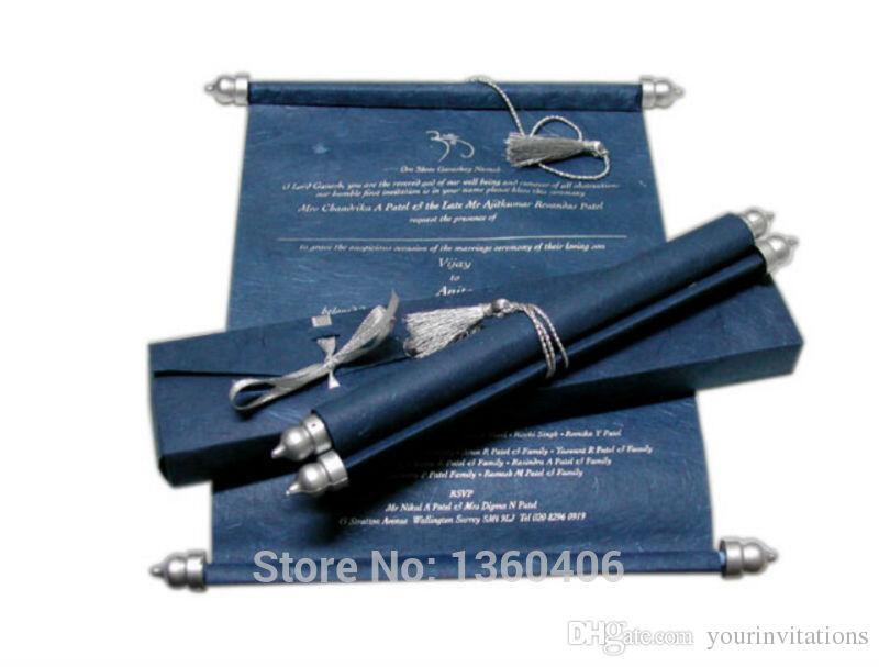 Navy Scroll Wedding Invitations Card Wholesale Party Wedding Caroon ...