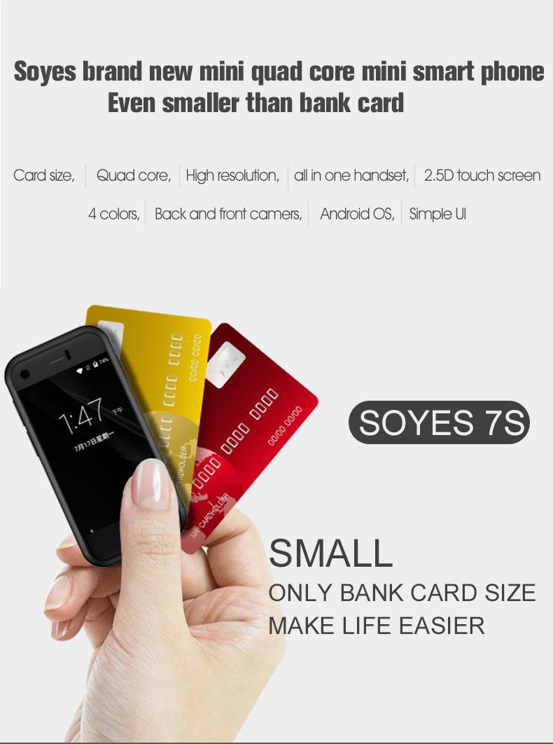 Lujo Super mini teléfono inteligente Android teléfono inteligente SOYES 7S 6S Quad Core 1GB + 8GB 5.0MP Tarjeta SIM Dual S8 teléfono celular móvil 8S Teléfono móvil