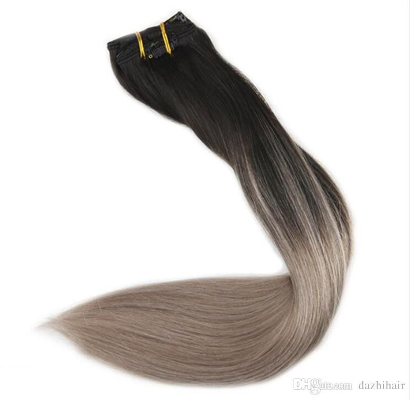 Ash Blonde Balayage Clip Indian Human Hair Extensions Full Head 120g