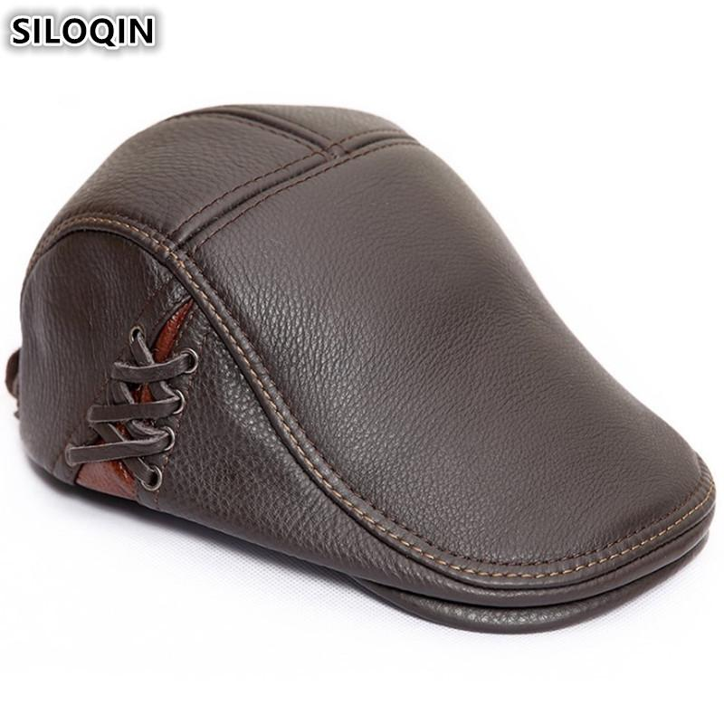 cee0e4605 SILOQIN Genuine Leather Hat Men s Cowhide Beret Brand Flat Cap 2018 New  Style Autumn Winter Warm Personality Tongue Caps For Men
