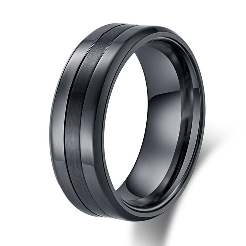 Wedding Band For Men.8mm Classic Blank Wedding Ring Men Stainless Steel Silver Black Basic Male Wedding Band Alliance Jewelry