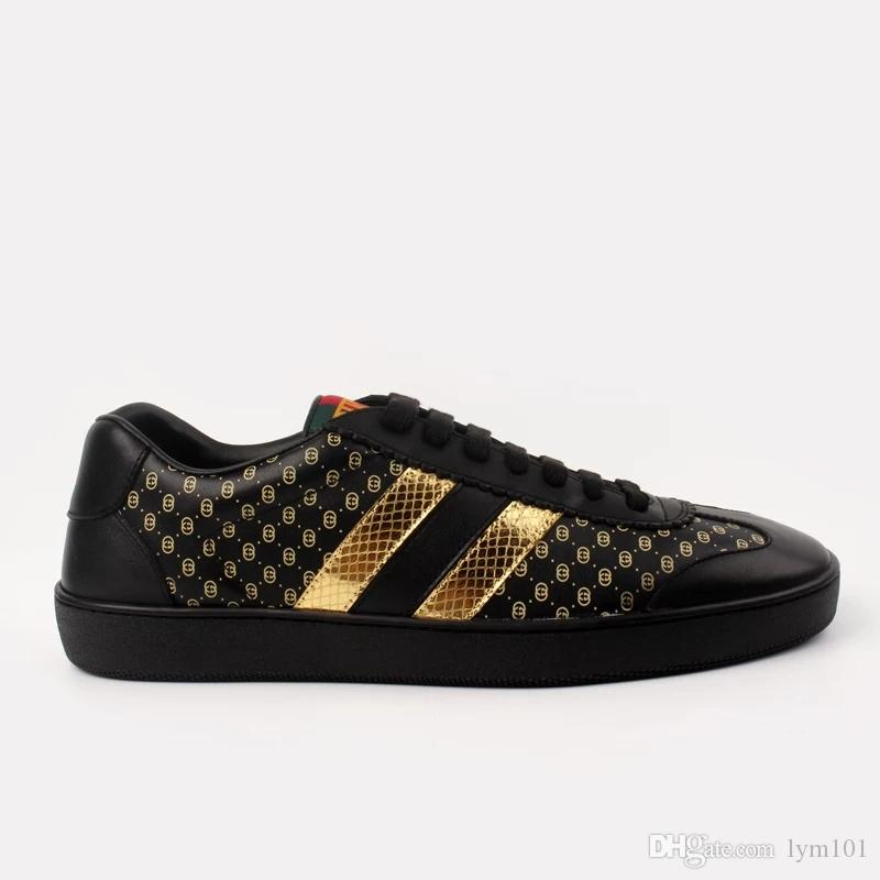 ed1717c3377 2018 High Quality Designer Shoe Fashion Dapper Dan Luxury Brand Casual  Shoes Black Light Brown White Python Leather Sneakers Size 34 46 Kids  Sneakers Sale ...