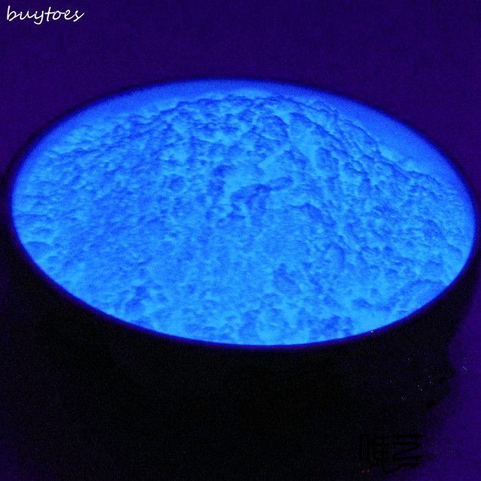 Color azul cielo brillante y color verde Polvo de fósforo resplandor en el polvo oscuro Pigmento luminoso Recubrimiento antipolvo fotoluminiscente