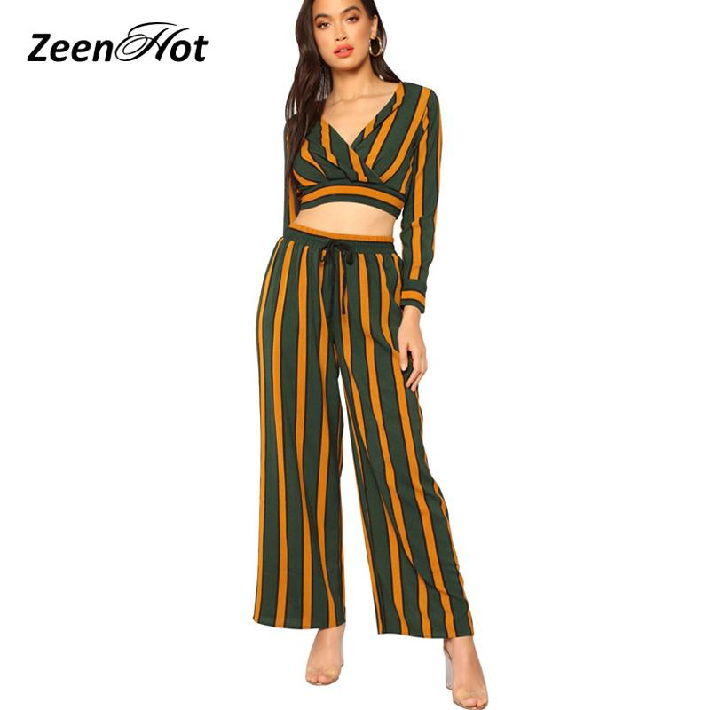 ff6730b6729 2019 Jumpsuits For Women 2018 Elegant Top Jumpsuit Long Sleeve Striped  Autumn Rompers Femme Casual Wide Leg Bodycon Overall From Lucycloth