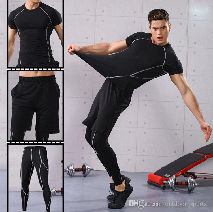 9cc2e2c53b714 2019 Fitness Clothing Men Sportswear Running Sportswear Quick Drying Tights  Breathable Gym Running Three Piece Exercise Fitness Wear Gym Clothing From  ...