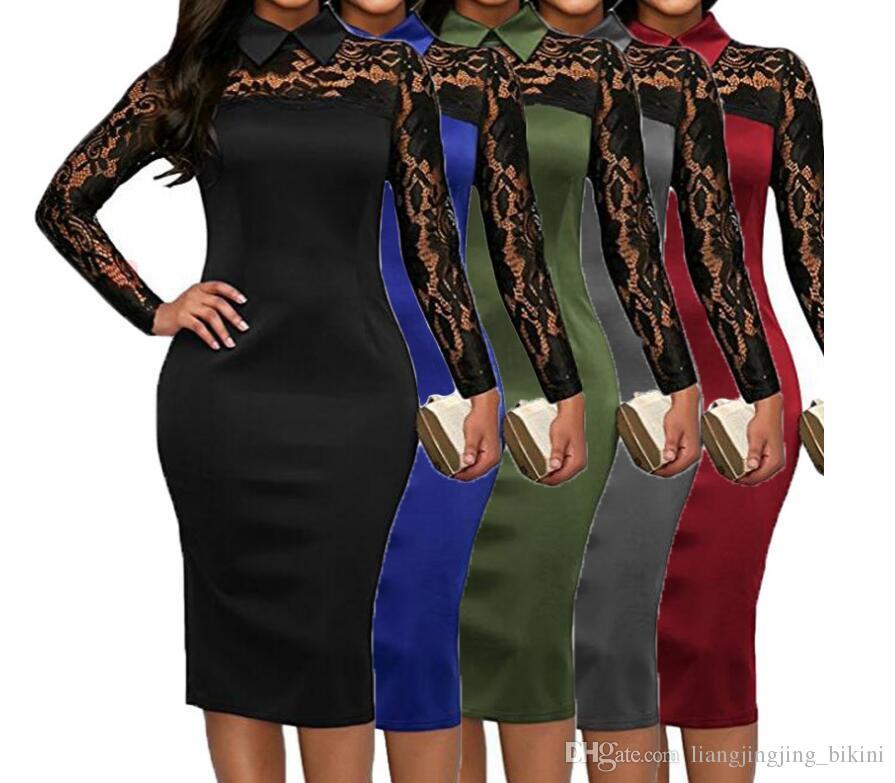 Acquista Abito Manica Lunga In Pizzo Donna Collo Alto Vestito Elegante Sexy  Cocktail Evening Party Dress i LJJK910 A  12.98 Dal Liangjingjing bikini ... ba4a81142c5