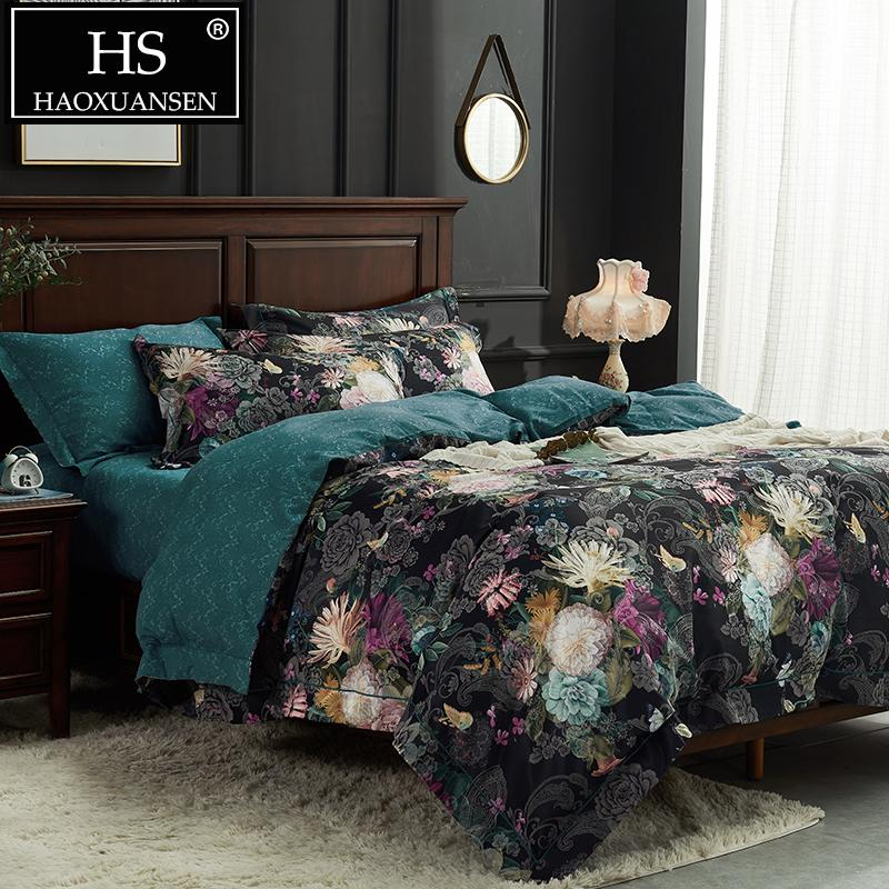 . HS Black 3D Floral Print Bedding Sets Duvet Cover Bed Linen and Duvets King  Size Bedding Set Queen Size Comforter Sets Christmas