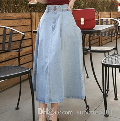 c04d3f6eaa Women's Denim Skirt Vintage Retro High Waist A Line Long Skirt Denim Pocket  Skirt Short Jeans Dress Ankle Length Short Skirts QBB