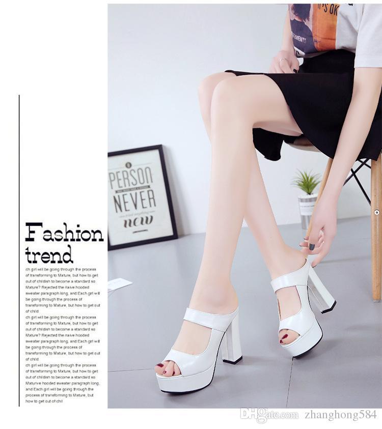 Прохладный мода высокие каблуки, чтобы носить тапочки Ms xia Han edition обувь Джокер толщиной с водонепроницаемый рыбы рот сандалии