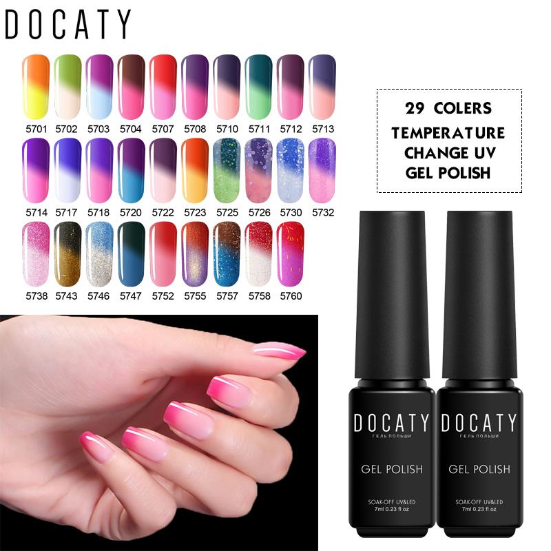 Docaty Gel Lacquer Candy Colors Temperature Change Gel Nail Polish ...