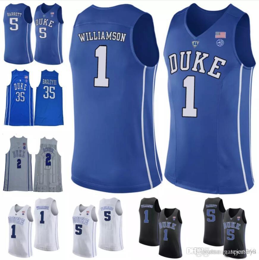 42649d0acda7 2019 NCAA Duke Blue Devils 1 Zion Williamson 5 RJ Barrett 2 Cam Reddish 35  Marvin Bagley III White Blue Black College Basketball Jerseys From  Gatejerseys