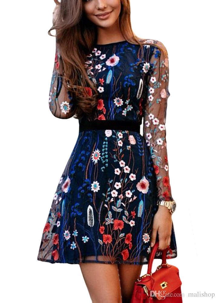 Mini Women Summer Sexy Embroidery Boho Dress 2019 Sheer Mesh Floral 8m0wvNn