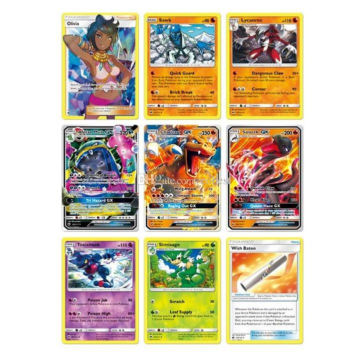 Poket Monster Playing Trading Cards Games Sun & Moon English Edition Anime Pocket Monsters Cards Kids Toys