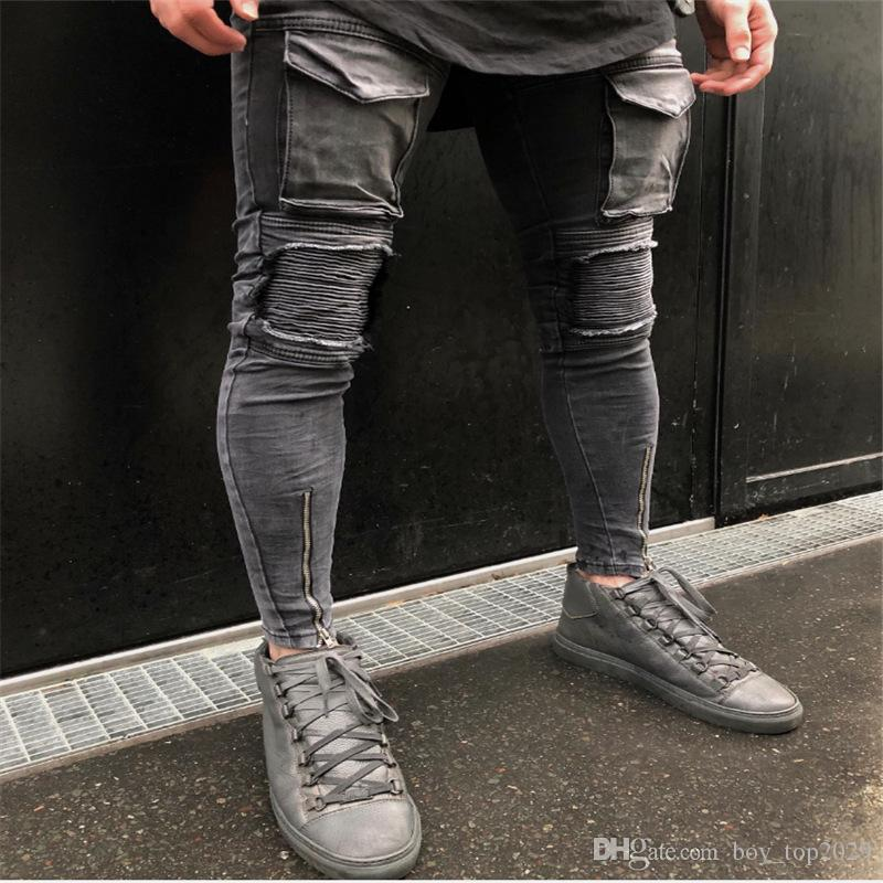 Acquista 2019 Moda All\\u0027ingrosso Moda Uomo Dritto Pantaloni Slim Jeans  Denim Pantaloni Strappati Pantaloni Skinny Nuovi Jeans Mens Vestiti A  $29.24 Dal