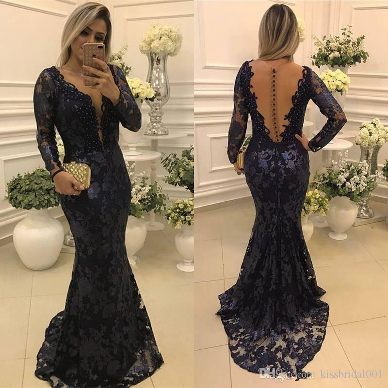 2018 Navy Blue Mother Of The Bride Dresses Vintage Lace
