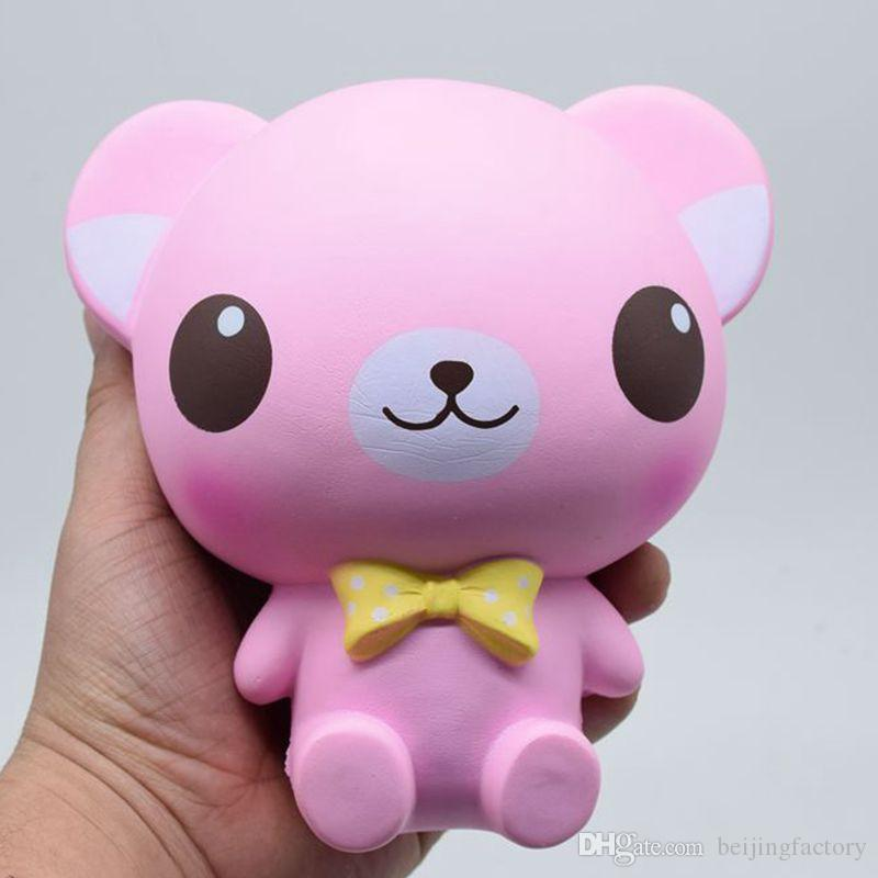 Big Pink Bear Squishy Toys Simulation Food For Key Ring ...