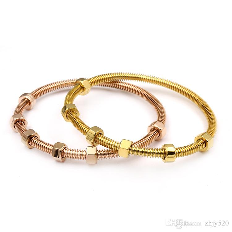 Brand Screw Love Bracelet Titanium Steel Bangles Men with 6 Screw Thread Steel Rose Gold Charm Bracelets for Women and Love Jewelry gift