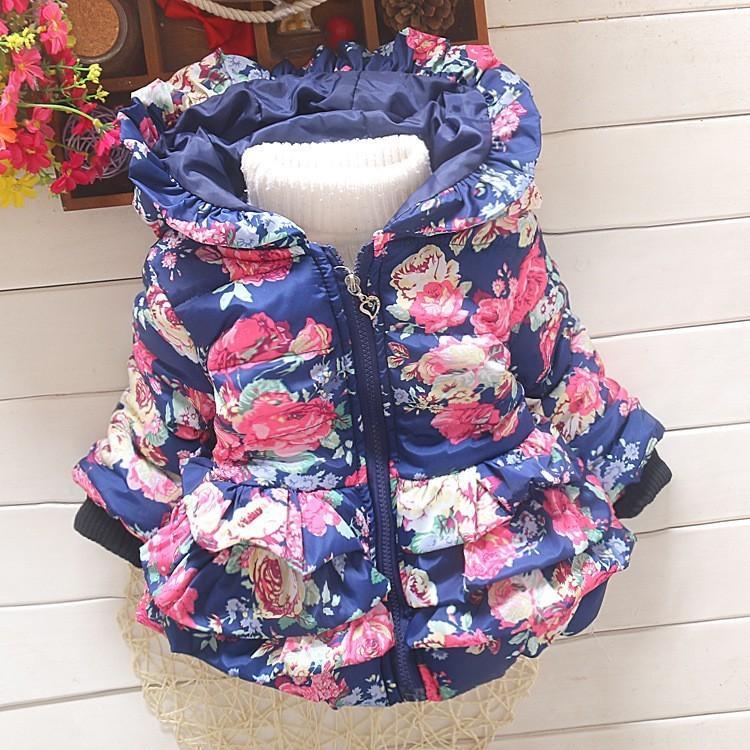 0e5485846 BibiCola Baby Girls Warm Parkas Winter Flower Thicker Coat Wadded ...