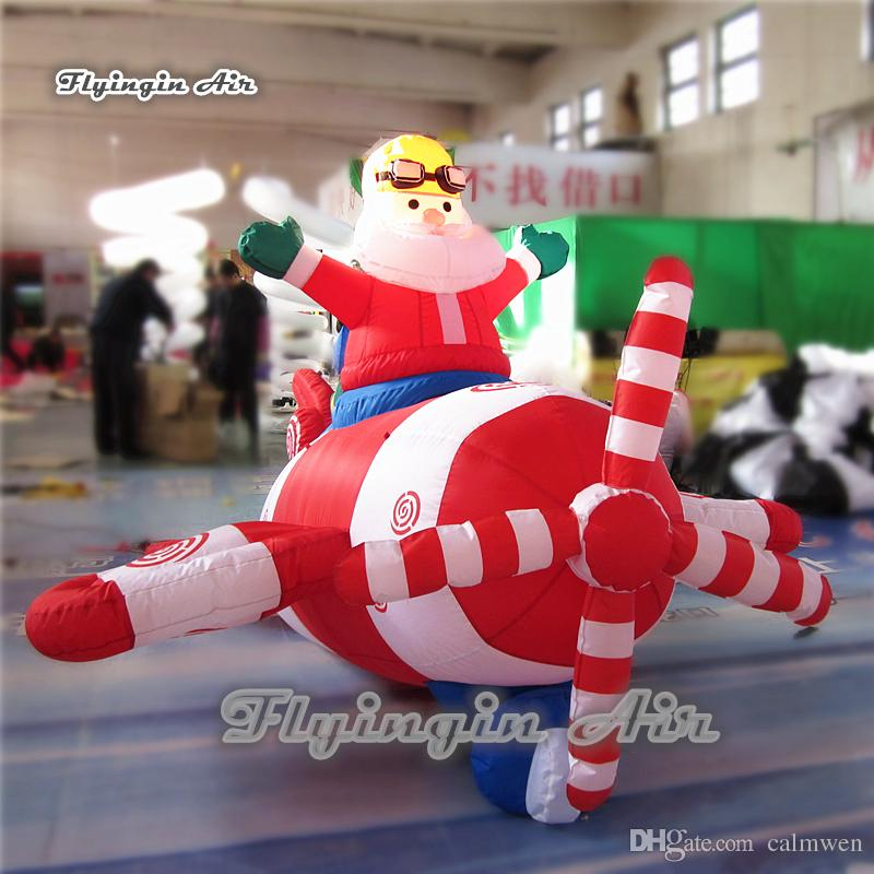 inflatable christmas santa with helicopter custom 2m height airblown