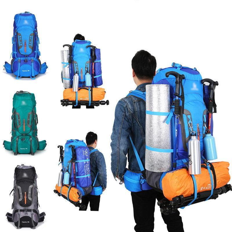 ec08325631 80L Outdoor Bags Sports Backpack Camping Hiking Backpacks Adjustable Large  Capacity Travel Climbing Superlight Backpack 1.65kg Black Leather Backpack  ...