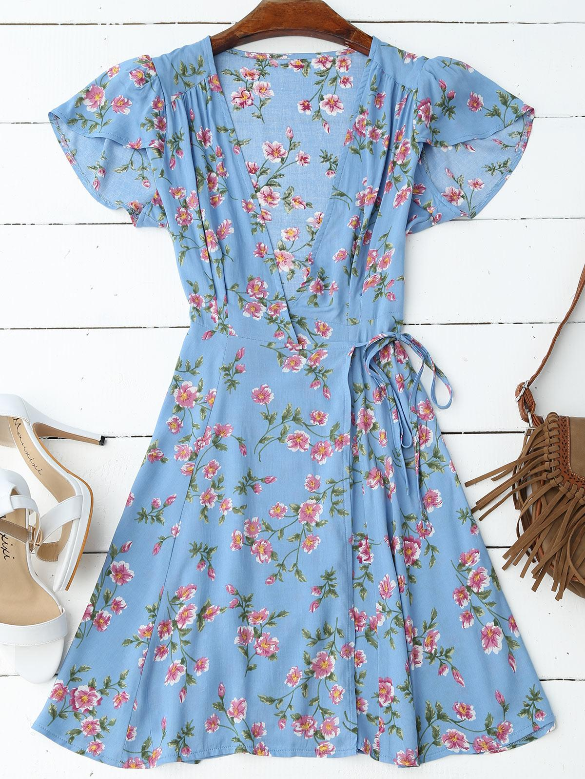 23333981fa80f 2019 ZAFUL Women Wrap Floral Mini Dress Short Sleeve Deep V Neck Flower  Print Bowknot Dresses Casual 2018 Summer Beach Dress Vestidos From  Qingxin13