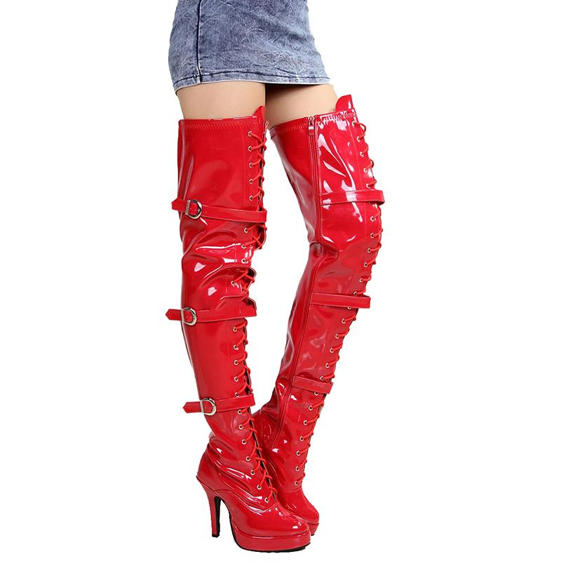 64b8fe39c90 Platform Red Over Knee Boots High Heels Women Shoes Thigh Long Boots  Fashion Fenty Beauty Ladies Gothic Shoes Big Size 43 Mens Chelsea Boots  Black Combat ...