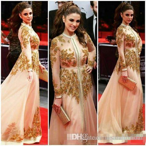 Kaftan Abayas Dubai Style Long Sleeve Celebrity Red Carpet Dresses with Long Sleeve 2019 Luxury Lace Beaded Prom Evening Formal Dress