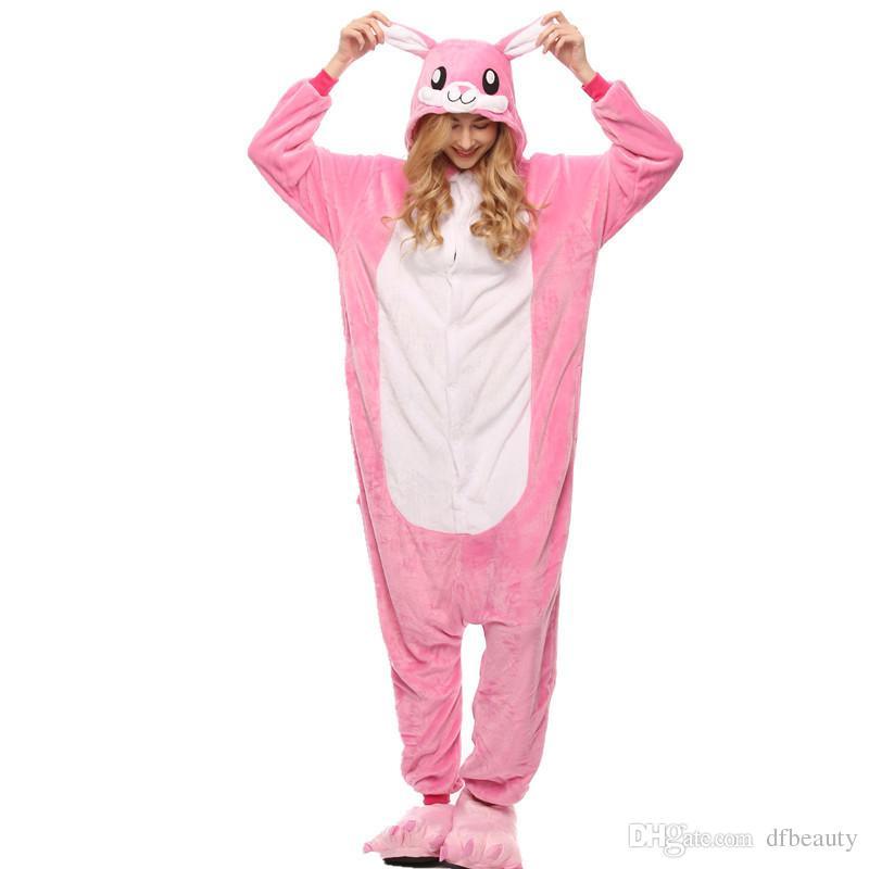 Cartoon Animal One Piece Pajamas Pink Rabbit Cosplay Cartoon Animal  Conjoined Warm Couple Kigurumi Pajamas Female Home Sleeping Clothes Canada  2019 From ... 2d8aa7298