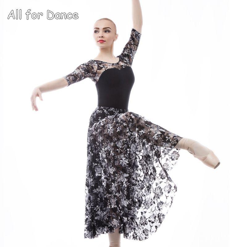 ed68543d60 Compre Balé Adulto   Lírico   Dança Contemporânea Vestido Longo Leotards  Mangas Mid Length Ballet Dança Prática Roupa Ginástica Desgaste De Braces