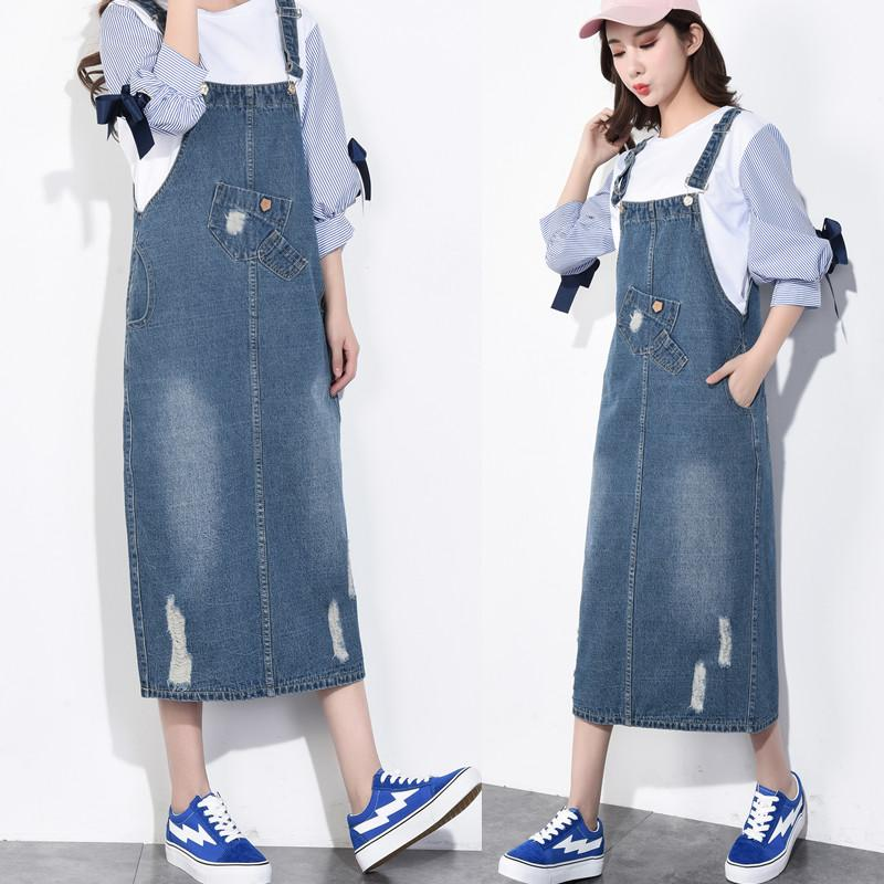 2018 New Design Spring Denim Dress Plus Size Jean Skirt Loose Style ...