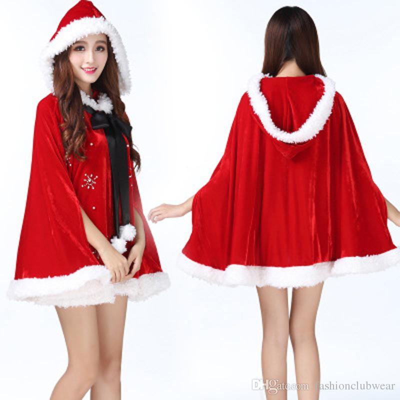 7705e6263b035 Acheter Nouveau Noël Sexy Rouge À Capuche Cape Mini Robe Mignonne Mme Santa  Costumes Cosplay Femmes Santa Claus Halloween Partie Fantaisie Robe De   23.85 Du ...