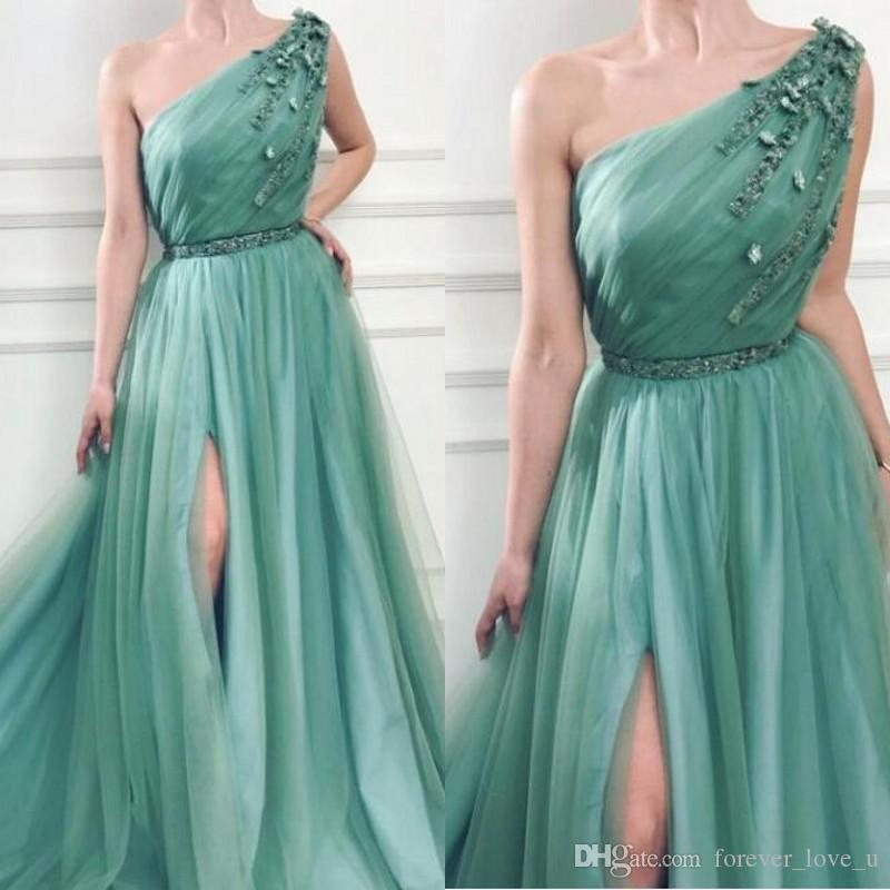 24f40f687 2019 Stunning Sage Prom Dresses Long Formal One Shoulder Sleeveless 3d  Floral Appliques Beads Sequins Tulle Evening Party Gowns With Split Online  Dress Shop ...