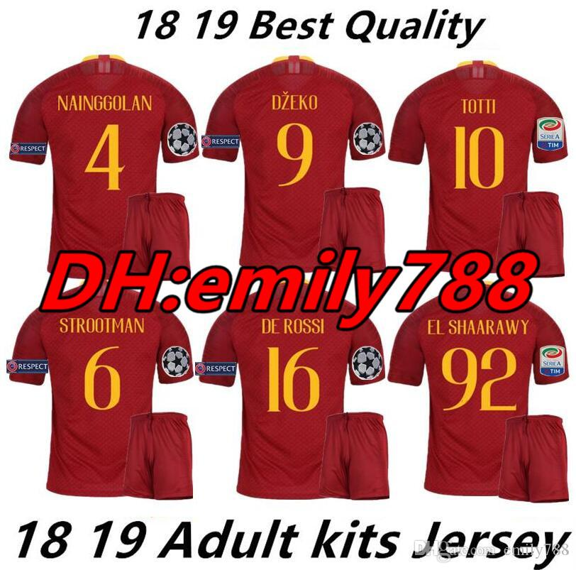 6cba6eb0175 2019 2018 19 Men Rome Home Away Third Soccer Jerseys Totti Dzeko Nainggolan  Futbol Camisa As Football Camisetas Shirt Kit Maillot Roma As Roma From  Emily788 ...
