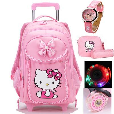 c3233dcf5096 Hello Kitty Trolley School Bags For Girls Cartoon Children Backpack With  Wheels Teenage School Bags Women Mochila Infantil Bolsa Y18100805 Small  Backpack ...