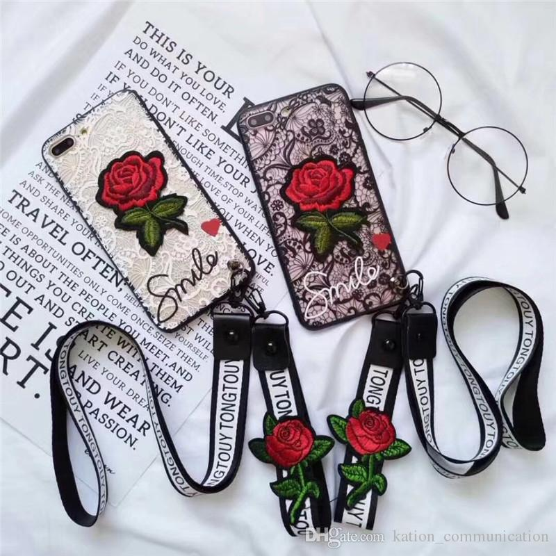 For iPhone X 3D Embroidery Rose Case Lanyard Art Handmade Flower Design TPU PC Cover For iPhone 8 7 6S Plus With Strap