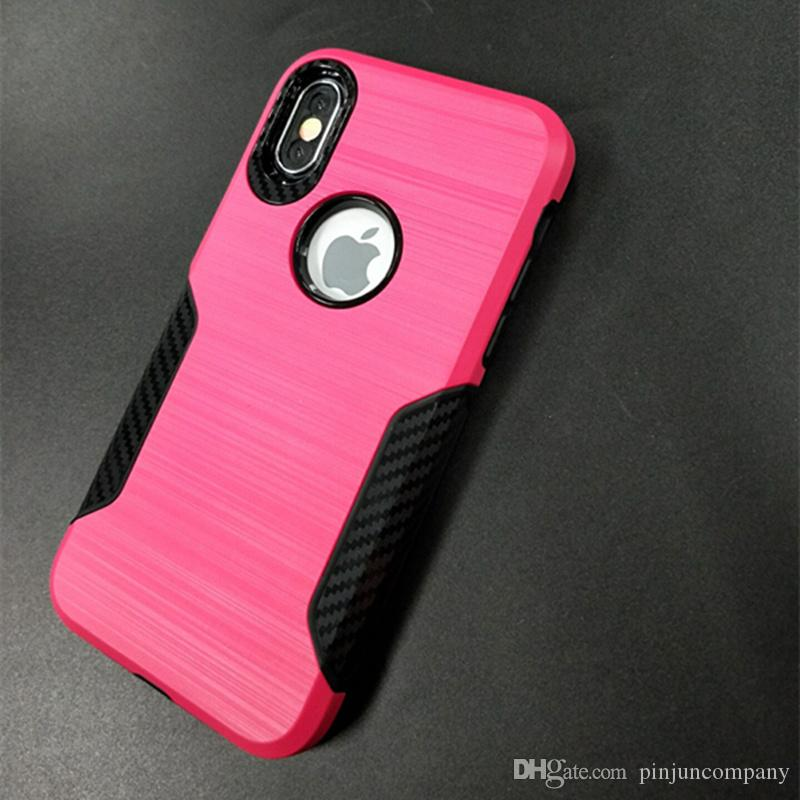 Гибридный броня case для iphone 6 7 8 plus iphone x для LG Aristo 2 Metropcs матовый углеродного волокна противоударный телефон case cover