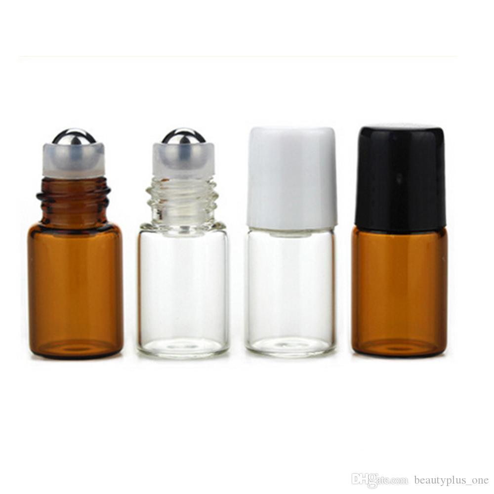 2ML Empty Amber Roll-On Glass Bottle Metal Roller Ball Bottle Essential Oil Vials Perfume Liquid fragrance Small Sample Bottle