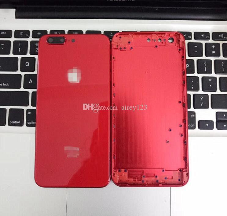 Für iPhone 6 6S 7 Plus-Rückseiten-Gehäuse iPhone 8 Stil Metall, Glas, Voll Schwarz / Weiß / Rot Schwarz hintere Abdeckung wie 8+
