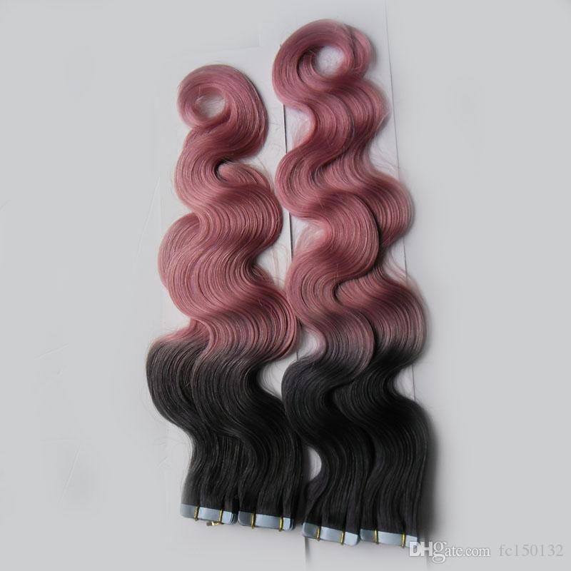 T1B / Rose Couleur Bande En Extensions de Cheveux Humains Machine Fait Remy Brésilien Corps Vague Cheveux 200G 80 Pièce Ombre Peau Trame Extensions de Cheveux