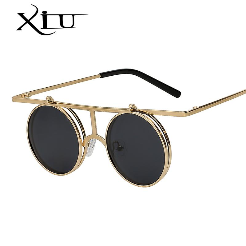 683a4702e Compre XIU Flip Up Polarizada Óculos De Sol Clássico Steampunk Das Mulheres  Dos Homens Óculos De Sol De Metal De Alta Qualidade Designer De Marca Do  Vintage ...