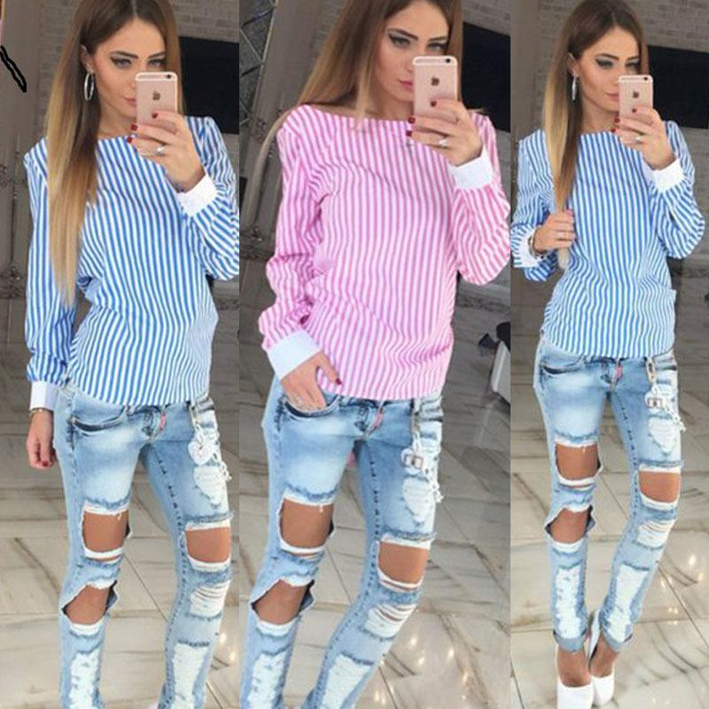 35f4bbb3984 2019 2019 Fashion White Striped Open Back Sexy Tops Cute Women Blouse Long  Sleeve Shirt Women Summer Clothes Plus Size From Feeling09