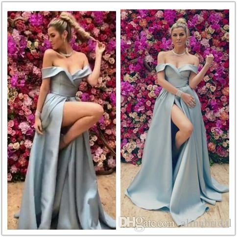 bd774135b7a25 2019 elegant off the shoulder prom dress Side Split Formal Long Sexy silver  Evening Gowns robe de soiree women formal party dress