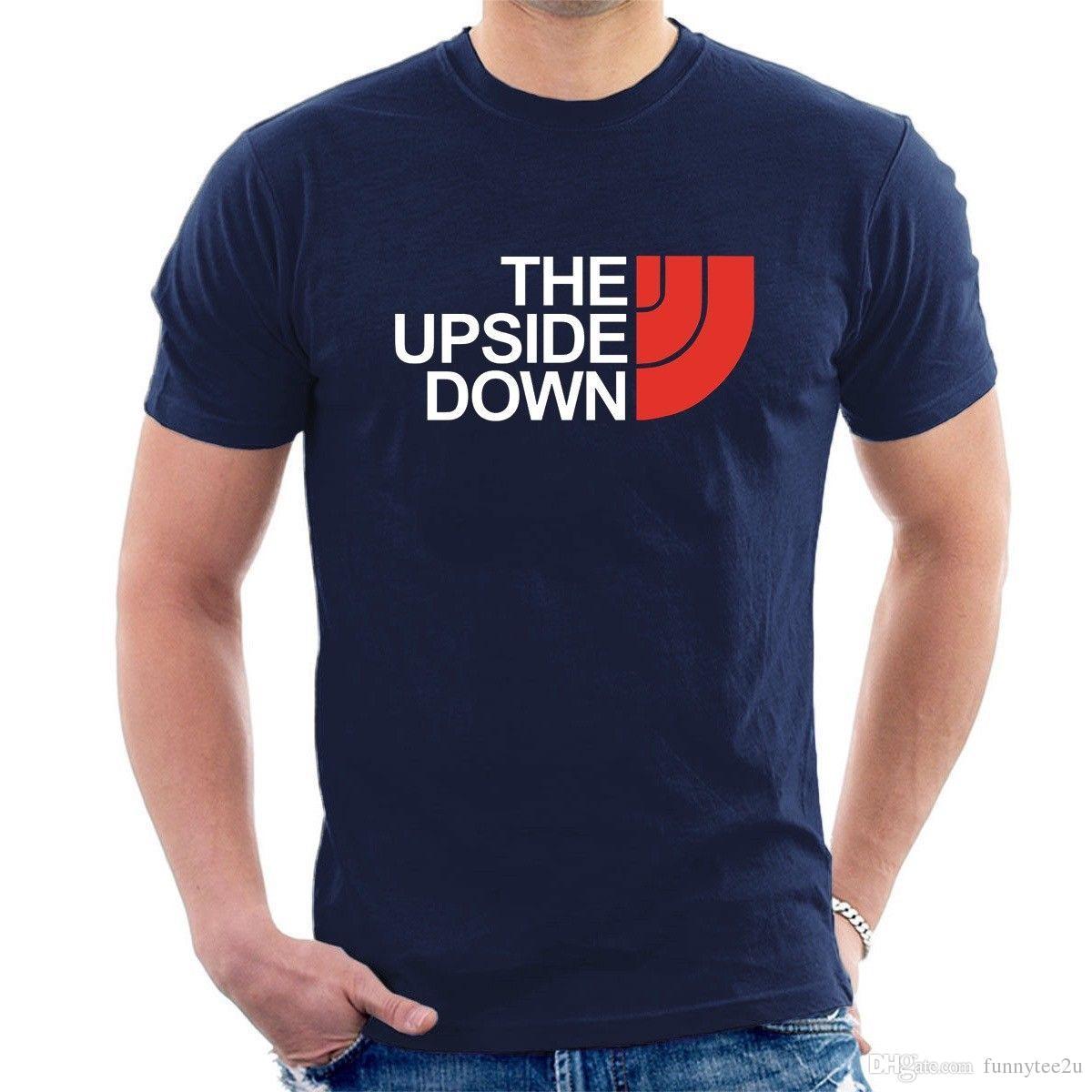 THE UPSIDE DOWN T SHIRT Stranger Things fait face à demogorgon inspiré par le nord drôle H08 T shirt homme été manches courtes personnalisé Plus Size