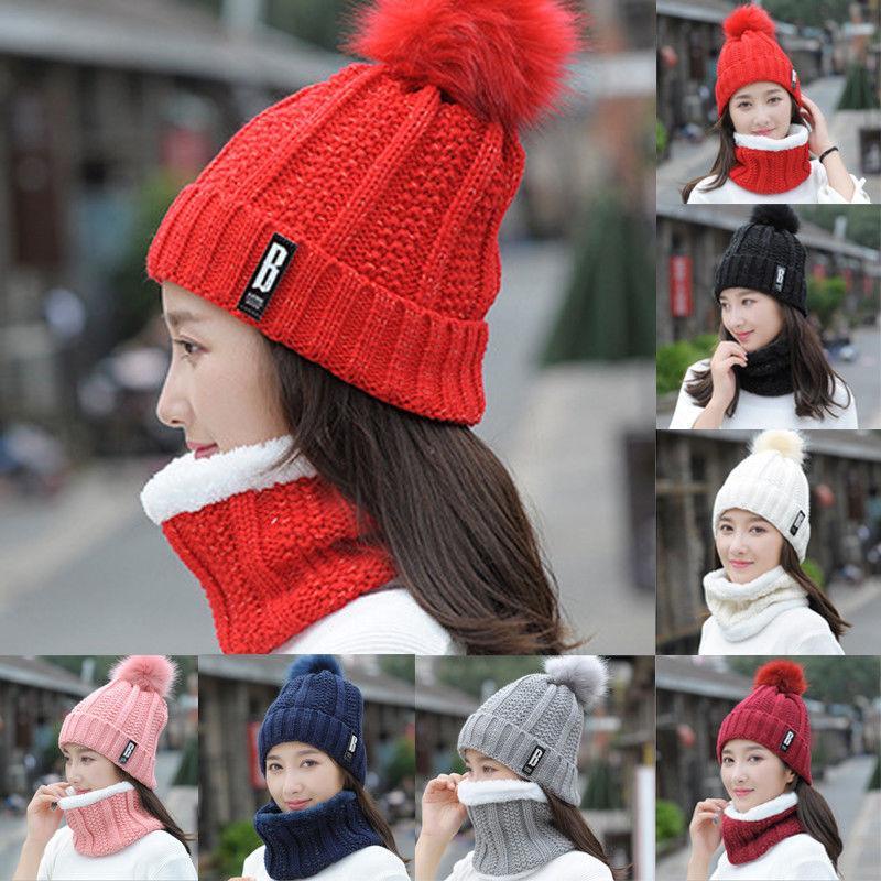 Compre Nueva Moda De Invierno Bufanda Del Sombrero Para Las Mujeres Niñas  Gorros Calientes Anillo Bufanda Pompones Sombreros De Invierno De Punto  Gorros Y 2 ... a77c8f8cb27