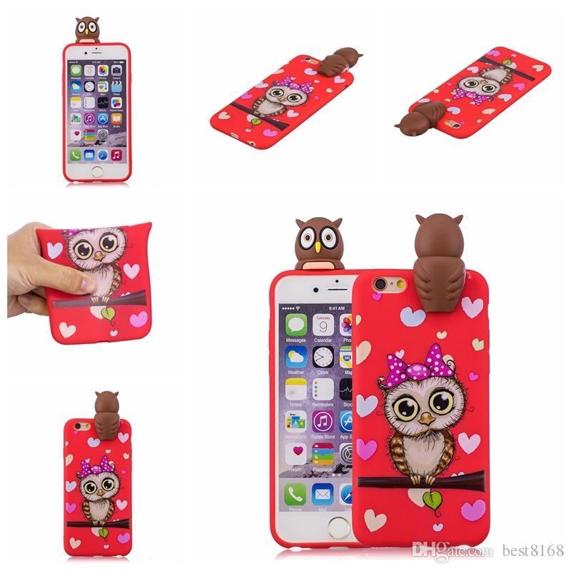 Iphone xr için xs max x 8 7 6 se 5 5 s galaxy note 9 s9 3d karikatür yumuşak silikon case baykuş unicorn ayı panda unicorn kapak kauçuk kedi moda