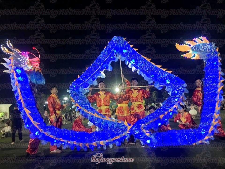 LED Size 4# 6m-18m dragon dance adult folk silk decor outdoor shop Art TV Stage game mascot outdoor parade christmas culture holiday party