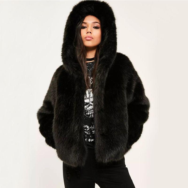 17235f61a Women Winter Faux Fox Fur Coat Hooded Thicken Warm Artificial Fur ...