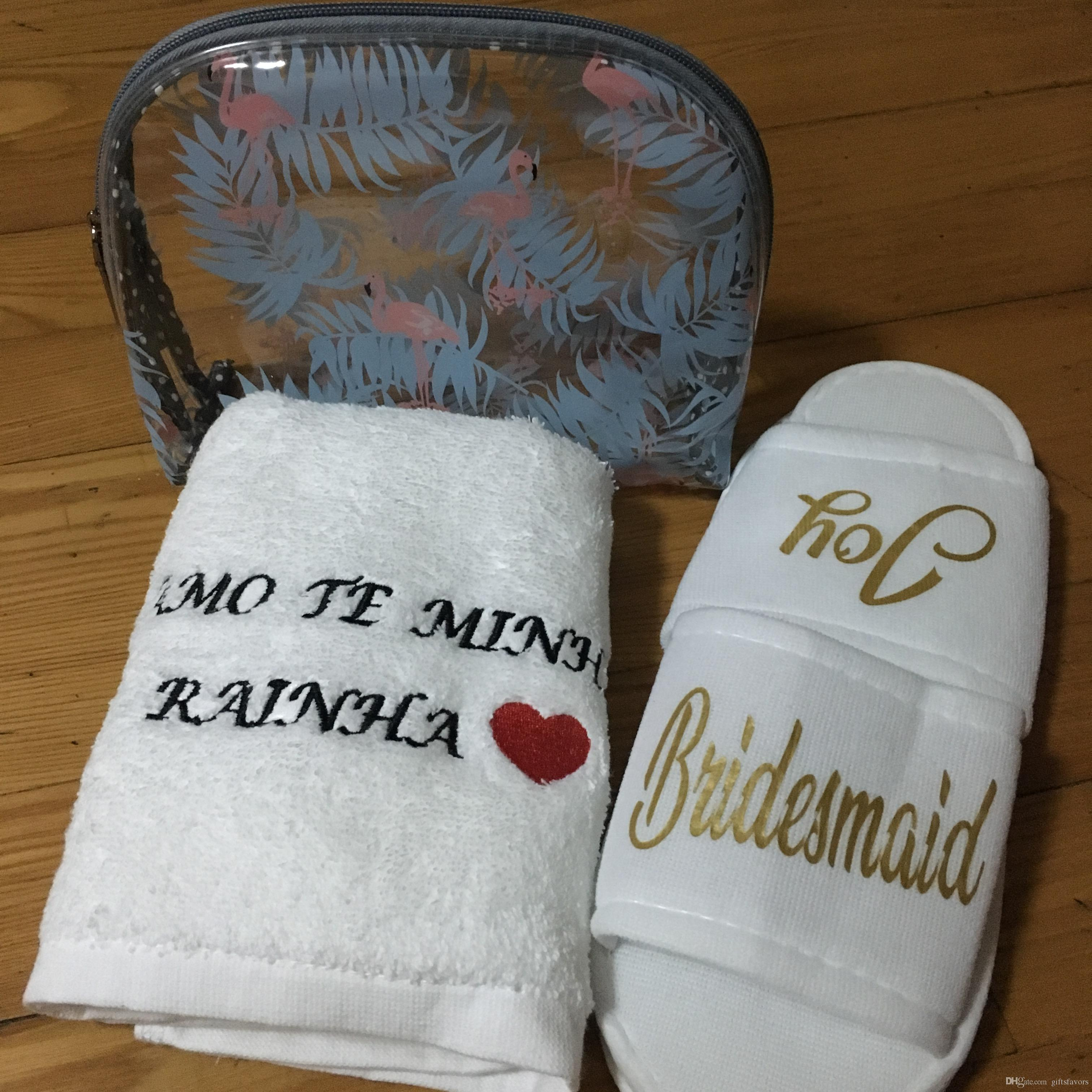 Personalized Embroidery Logo Towels Couple Wedding Bridesmaid Gifts