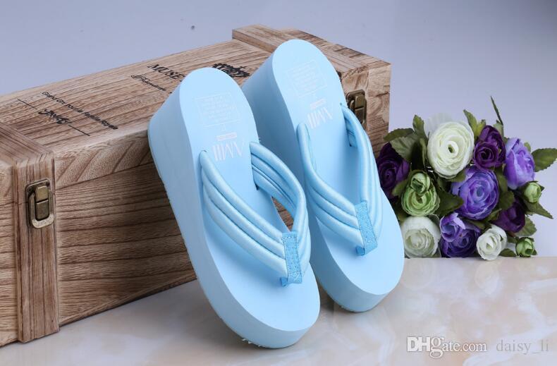 Filles Tongs Pantoufle Marque Chaussure 2018 D'été Femmes Pantoufles Épaissir Muffin Bottom Wedge Talon Sandales Accueil Chaussures # 33